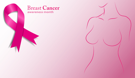 cancer ribbons: breast cancer awareness month. Pink ribbon vector illustration. Female silhouette of pink ribbons Illustration