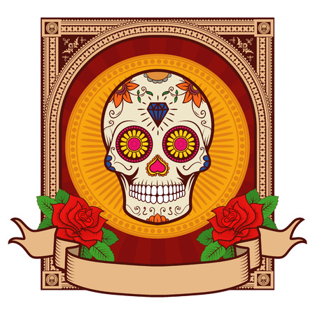 white day: Day of the dead. Sugar skull.
