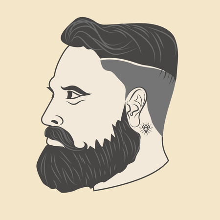 stylish boy: hipster style. head of a man with a beard and a tattoo. Vector illustration