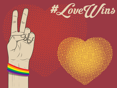 lesbienne: L'amour gagne. lesbiennes, gays, bisexuels et transgenres. Ruban LGBT. Vector illustration.