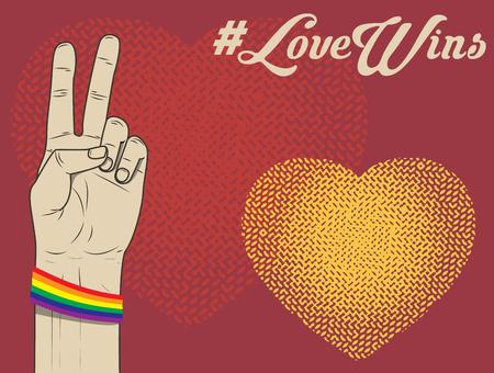 lesbian: love wins. lesbian, gay, bisexual, and transgender. LGBT ribbon. Vector illustration.