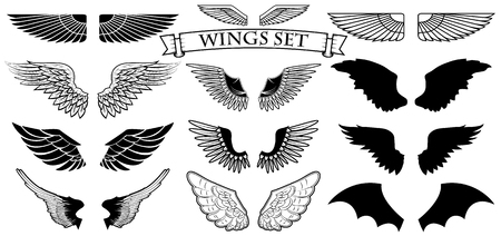 tatouage ange: Définir des ailes vectorielles. Création logo contemplation.