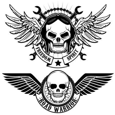 biker thema labels. schedels met vleugels.