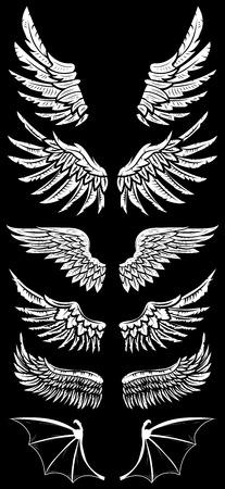 Heraldic wings set for tattoo or mascot design