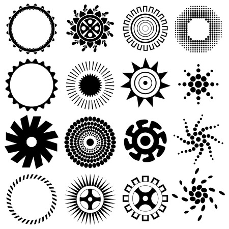 sun: suns and flowers - elements for design set of vector suns, suns collection