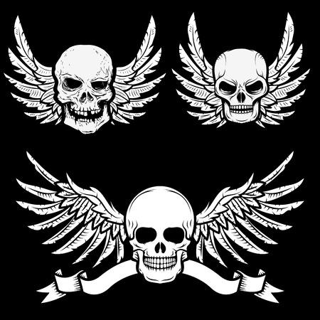 skulls: biker theme labels. skulls with wings. Illustration