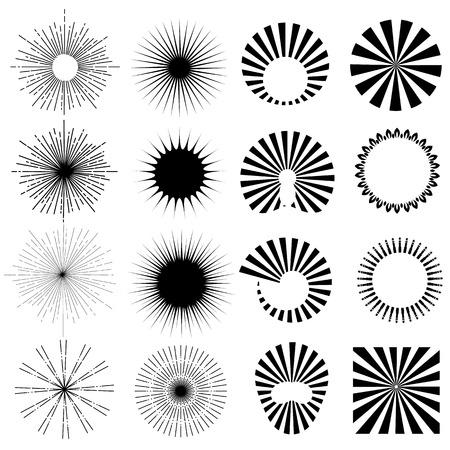 Vintage sun burst frames and design elements for your design. Retro style. Vector