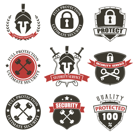 guard house: Security Labels Collection WIth Retro Vintage Design