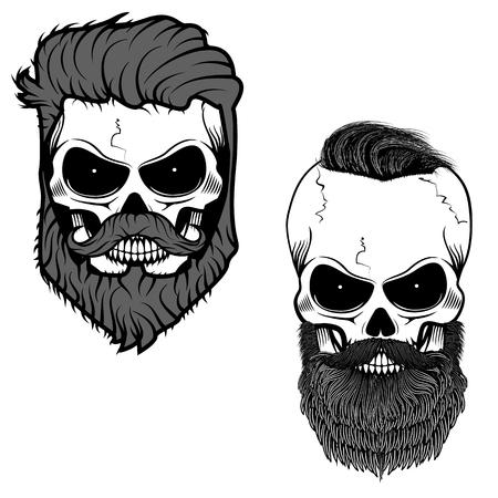 bearded skull. Sugar skull with beard. Day of death. Vector illustration