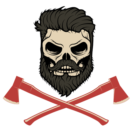 halloween tee shirt: Skull with beard and two axes. Vector illustration.