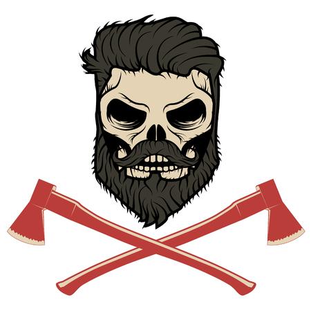 halloween tee shirt: Skull with beard and two axes. Vector illustration.