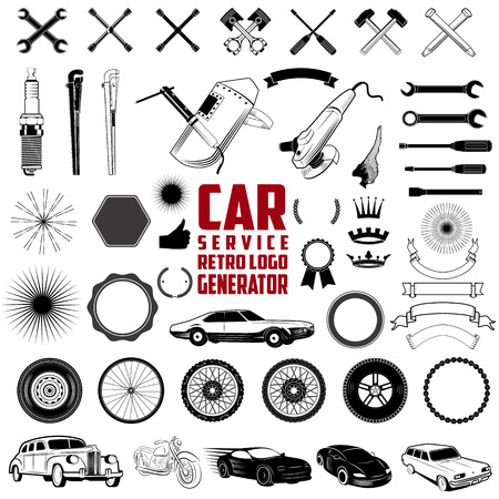 Car Service Retro Logo Generator is set of icons, badges, ribbons and other useful design elements for retro car service emblems and logos  Illustration