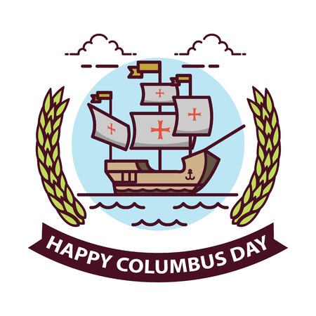 maria: columbus day. old schooner. Santa Maria. Illustration