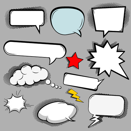jagged: Comic speech bubbles icons collection of cloud oval rectangle and jagged shape.Vector illustration.