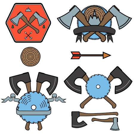 lumberjack: lumberjack outline icons and labels. Illustration