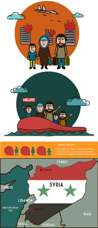 wojenne: Syryjskich uchodźców infographic. Wojna domowa w Syrii Ilustracja
