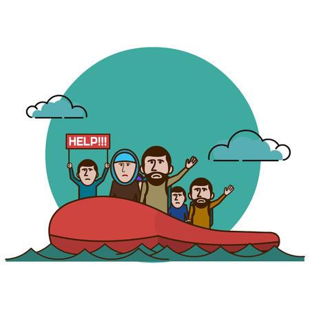 bateau: Réfugiés syriens sur le bateau. La guerre civile en Syrie Illustration