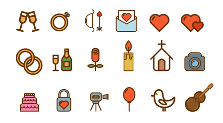 Outline web icon set - wedding. Set of the vector wedding outline icons. Illustration