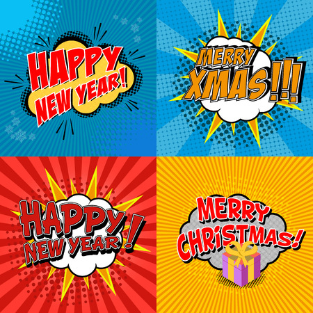 bomb: Set of pop art comic happy new year and x-mas vector illustration. Decorative set of backgrounds for happy new year and x-mas  with bomb explosive.
