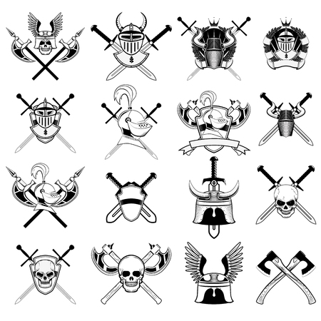 military helmet: knight logo set. Skull in horned helmet, crossed axes, crossed swords, viking helmet, shield, . Logos can be easily disassembled into separate items. Illustration
