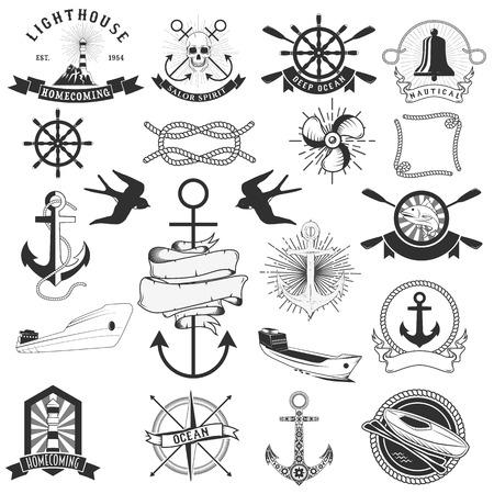 logo poisson: Vector Pack d'éléments marins. Corde tourbillonne, logos et badges