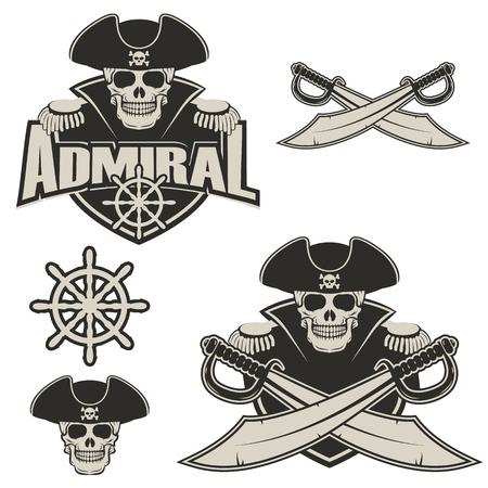 提督のラベルおよびロゴのデザイン テンプレートです。2 つの十字剣と海賊頭蓋骨。ベクトルの図。
