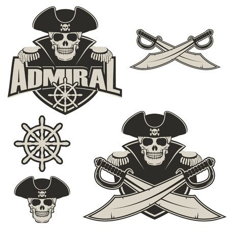 admiral label and logo design template. Pirate skull with two cross swords. Vector illustration.