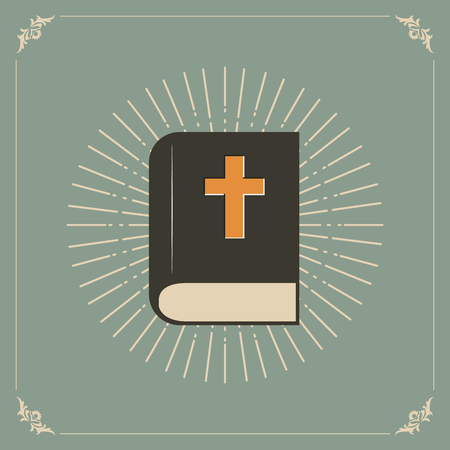 holy book: Vector illustration of the Holly Bible with sunburst.