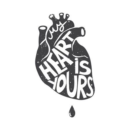 My heart is yours. Vector card or design element for greeting cards, prints and posters. Heart on vintage background