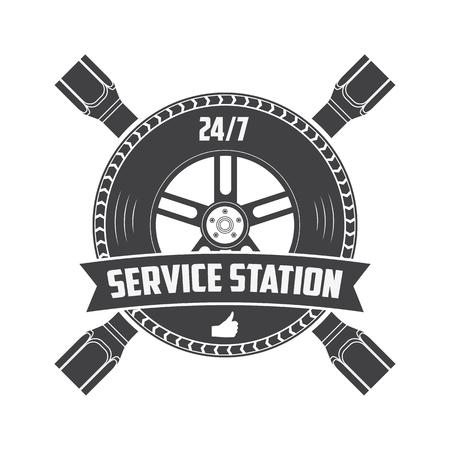 vintage etiket: service station vintage label. Logo template. Vector illustration.