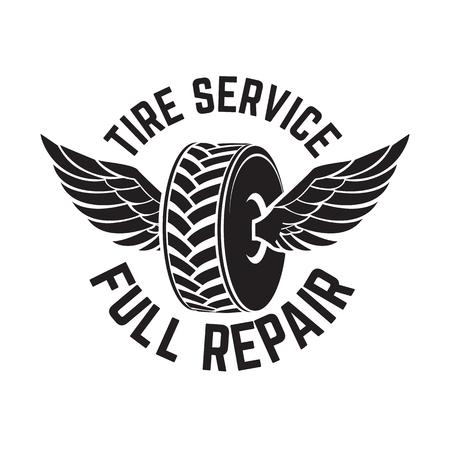 Tire service, full repair. Tire shop and service emblem, vector design element.