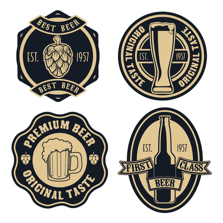 Set of vintage beer and pub logos, labels and emblems with bottles, hops, and wheat. Vector illustration.