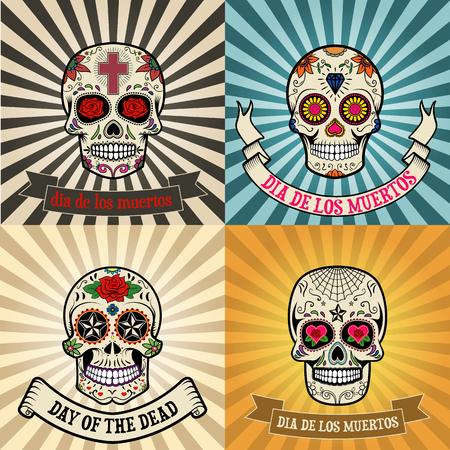 dia de muertos: Marcos con el cr�neo en el fondo. Dia de los Muertos. Dia de los muertos. Ilustraci�n del vector. Vectores