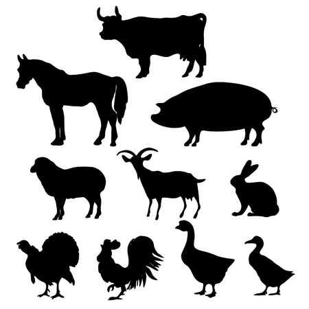 farms: Vector Farm Animals Silhouettes Isolated on White Background. Vector illustration.