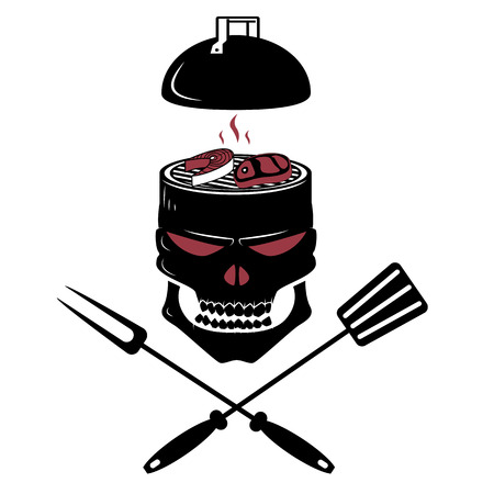 grill in the shape of the skull. design template. Vector illustration. Çizim