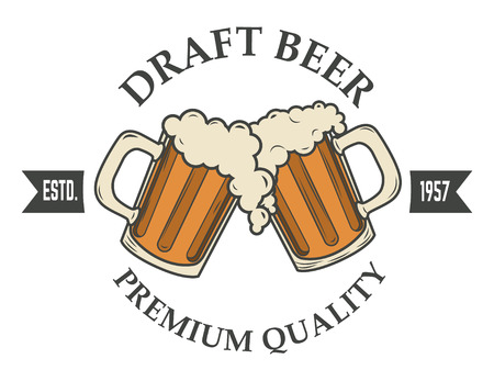 draft beer vector illustration. icon,badge or label design template. Pab or bar icon.  イラスト・ベクター素材