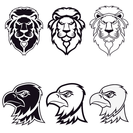 dragon cartoon: lion and eagle. icon,badge or label  design template. Vector illustration. Sport team icon template.