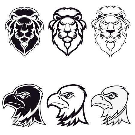 tatouage oiseau: lion et l'aigle. ic�ne, badge ou �tiquette mod�le de conception. Vector illustration. Sport ic�ne �quipe mod�le.