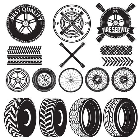 車サービスのラベル。タイヤ サービス ラベル。自動車部品。ベクターの設計要素のセット  イラスト・ベクター素材