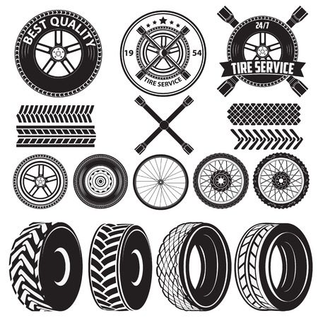 tire: car service labels. tire service label. Auto parts. Set of design elements in vector