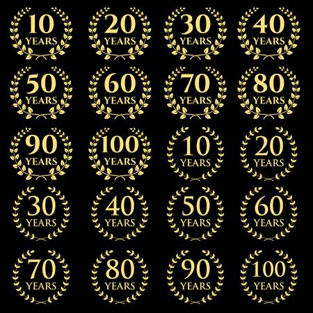 tenth: 10-100 anniversary laurel wreath. Celebration and congratulation design template. congratulation design template.