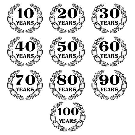 tenth birthday: 10-100 anniversary laurel wreath. Celebration and congratulation design template. congratulation design template.