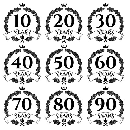 tenth birthday: 10-100 anniversary oak  wreath. Celebration and congratulation design template. congratulation design template.