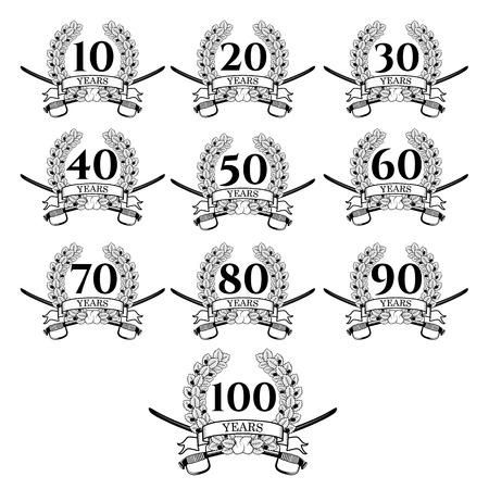 oak wreath: 10-100 anniversary oak  wreath. Celebration and congratulation design template. congratulation design template.