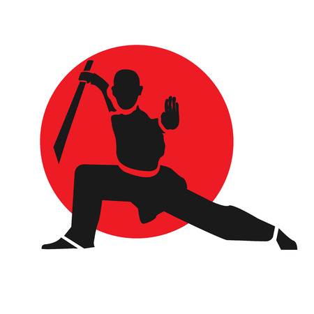 Master of wushu with sword.  design template.