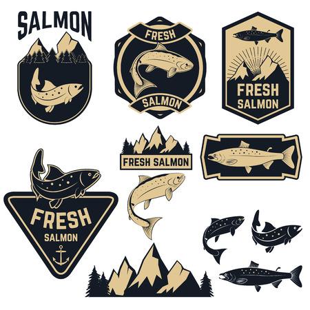 ビンテージの新鮮な鮭魚のエンブレム、ラベルおよびデザイン要素。バッジやラベルのデザイン テンプレートです。