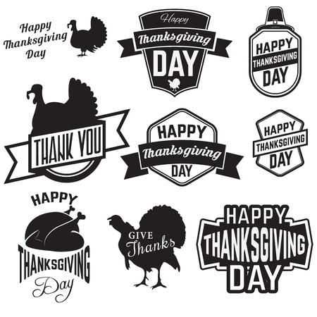 gobble: Set of Thanksgiving clip-art. tags, labels and badges with Thanksgiving symbols. badge or label design template.