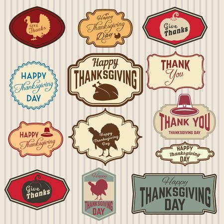 insignias: Conjunto de Acción de Gracias clip-art. etiquetas, etiquetas e insignias con símbolos de Acción de Gracias. placa o etiqueta plantilla de diseño. Vectores