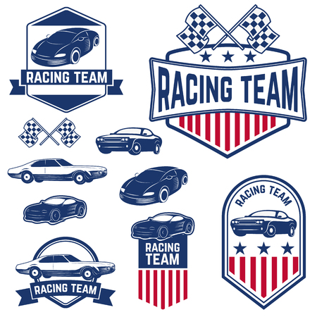racing track: Set of the Car Racing Labels,Icons and Design Elements. Label,or badge design template.