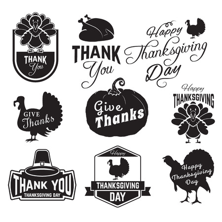 感謝祭のクリップアートのセットです。タグ、ラベルおよび感謝祭のシンボル バッジ。バッジやラベルのデザイン テンプレートです。